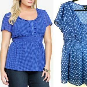 0X Torrid Polka Dot Blue Chiffon Empire Top